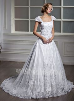 Wedding Dresses - $212.79 - A-Line/Princess Square Neckline Court Train Satin Tulle Wedding Dress With Lace (002012091) http://jjshouse.com/A-Line-Princess-Square-Neckline-Court-Train-Satin-Tulle-Wedding-Dress-With-Lace-002012091-g12091