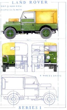 Land Rover Landrover Blueprint technical style Series1 86 inch Greeting Card