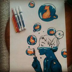 #colorful #drawing #gril #fish #water #balloon #blue #orange #animals #animalskingdom #Iloveanimals #renkli #çizim #kız #balık #su #balon #mavi #turuncu ##hayvanlar #hayvanlaralemi #hayvanlarıseviyorum