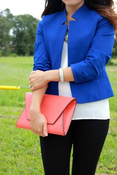 Envelope clutch and bright blue blazer for fall