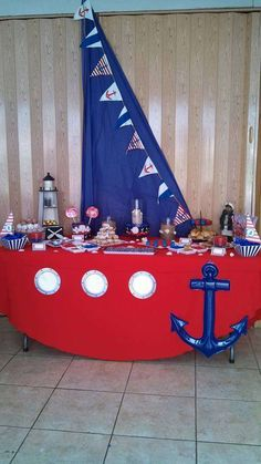 New baby shower ideas centros de mesa para varon Ideas Boat Birthday Parties, 1st Boy Birthday, Sailor Birthday, Birthday Ideas, Sailor Party, Sailor Theme, Boy Baby Shower Themes, Baby Boy Shower, Sailor Baby Showers
