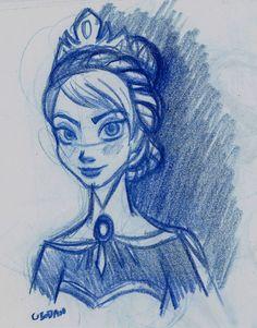 Elsa Frozen Disney Sketches   Elsa from Frozen - Sketch by ubodan