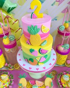 Lindos detalhes dessa decor by 🍍🍓🍉 🍇🍋🍒 and all the frutti sweets 💕 by 🍉 2nd Birthday Party For Girl, Fruit Birthday Cake, Watermelon Birthday Parties, Fruit Party, Birthday Ideas, Rose Bonbon, Flamingo Birthday, Summer Cakes, Party Cakes
