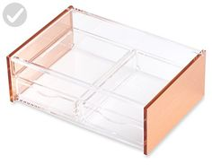 Rose Gold Organizer Flip-Top 2 Draws for Cosmetics Makeup Jewelry Stationery Hobby Art Craft Supplies by Lucido Cosmetics - Refine your workspace (*Amazon Partner-Link)