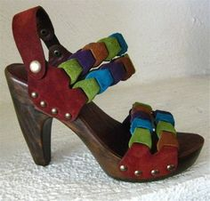 Platform Clog Shoe Bright Green Blue Purple Suede by karenkell,