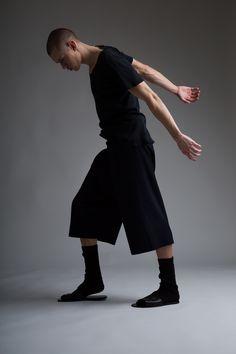 Vintage Men's Military Scoop Neck T-Shirt and Comme des Garçons Shorts. Designer Clothing Dark Minimal Street Style Fashion