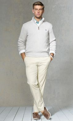 Polo Ralph Lauren sweater, khakis, and boat shoes