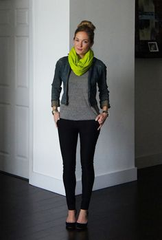 Love this outfit and the neon scarf.
