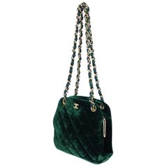Pre-Owned Rare Vintage Chanel Green Velvet Special Occasion Bag ($1,499) ❤ liked on Polyvore featuring bags, handbags, green, colorful purses, velvet purse, green handbags, white purse and special occasion handbags