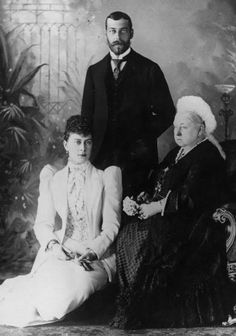 Queen Victoria with prince George V and his wife princess Mary (May) of Teck.