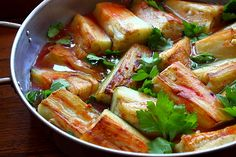 Eggplant Stuffed with Garlic Eggplant, Thai Red Curry, Garlic, Deserts, Pork, Vegan, Chicken, Ethnic Recipes, Eyes