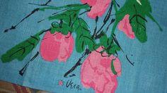 Vintage UNUSED VERA Linen Kitchen Towel PAIR Pink Turquoise Tools Apples FUN