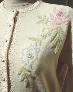 Vintage 50's Sweater Sparkle Bead and Pearl Embellished