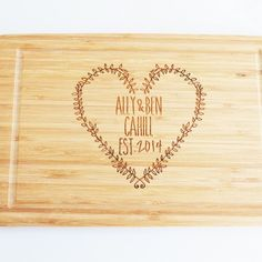 Wedding Cutting Board - Heart - Miss Bold Design