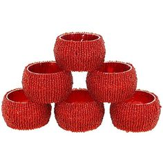 Set of 6 Red Beaded Table Decoration Napkin Rings - Perfect for Parties ShalinIndia http://www.amazon.com/dp/B00NQ3COMK/ref=cm_sw_r_pi_dp_8.8zvb146J967