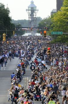 """Thousands of bikers and spectators fill State Street during the annual """"Roar on the Shore"""" motorcycle rally."""