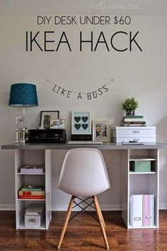 This IKEA hack desk is such an easy DIY for a home office! It's got storage too. If you need a workspace try this ikea office idea! Office Hacks, Desk Hacks, Office Ideas, Desk Ideas, Ikea Hack Desk, Ikea Stool, Cheap Ikea Desk, Office Designs, Ikea Office Hack