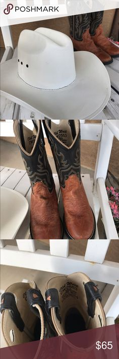Boy cowboy boots! All leather cowboy boots. Only worn twice! Old West Shoes Boots