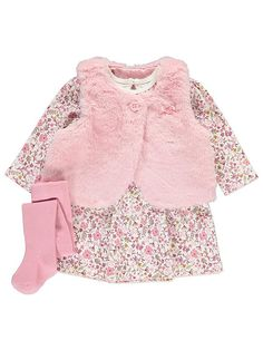 Everyone will be saying 'aww' when your little one rocks up at family gatherings in this 3 piece outfit set. The gilet has a snuggly faux fur finish and the . Dress Outfits, Girl Outfits, Dresses, Fur Gilet, Cute Baby Clothes, Babies Clothes, Bookmarks Kids, Baby George, Settee