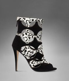 YSL Clara Cut-Out High-Heel Bootie in White & Black Leopard Printed Cowhide and Black Suede | fw2012