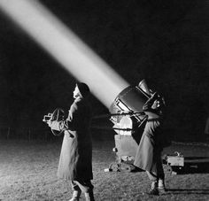 World War II search lights in British Regiment - Luftwaffe Blitz of London, 1940.