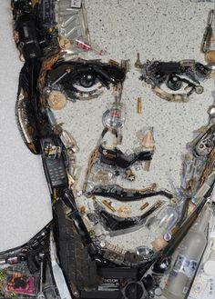 Junk art, Nicholas Cage portrait by Jason Mecier