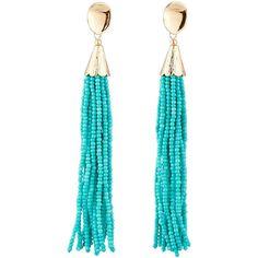 Panacea Long Seed Bead Tassel Earrings ($27) ❤ liked on Polyvore featuring jewelry, earrings, turquoise, polish jewelry, fringe tassel earrings, yellow jewelry, long post earrings and seed bead dangle earrings