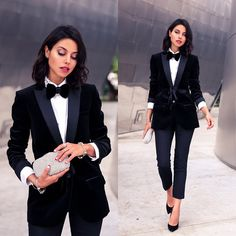 Annabelle fleur women ties, suits for women, ladies suits, dressy outfits, prom Casino Royale Dress, Casino Dress, Casino Outfit, Black Tux, Black Suits, Black Heels, White Tuxedo, High Heels, Graduation Suits