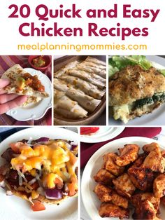 Top 20 Quick and Easy Chicken Dinners - Only a few ingredients for each of these delicious recipes that include chicken as a main ingredient! You'll love these recipes! -Meal Planning Mommies