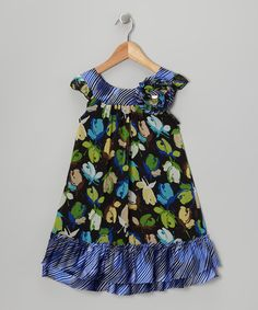 Take a look at this Green & Blue Rosebud Dress - Toddler & Girls by Pink Vanilla on #zulily today!