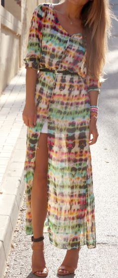 Sheer maxi | not crazy about the print, but I really like the slit!