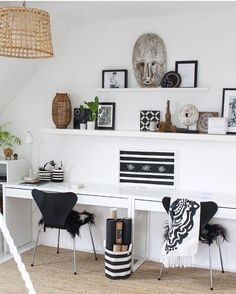 Black And White Home Office, Workspace