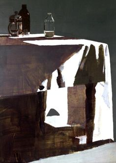 Table Cloth, Milk Bottle and Cafetiere by Susan Ashworth