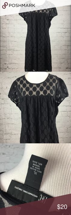"INC Black Polka Dot dress Size XL Beautiful black dress with polka dots and Keyhole Back. Size XL. Measures 19"" armpit to armpit laying flat. Length- 36"". Excellent Condition INC International Concepts Dresses"