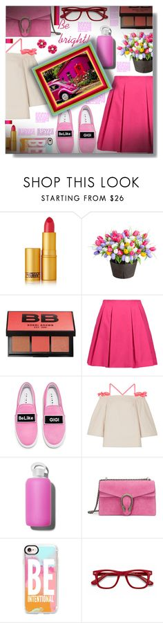 """Be bright!"" by sarahguo ❤ liked on Polyvore featuring Lipstick Queen, Improvements, Bobbi Brown Cosmetics, Alice + Olivia, Joshua's, Paskal, bkr, Gucci, Casetify and EyeBuyDirect.com"