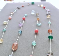 Floating Gemstone Necklace in Silver One of a Kind