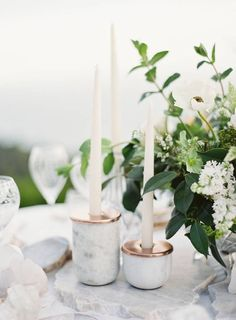 Marble and copper tablescape accents.