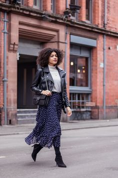 How Im Incorporating Spring Pieces Into My Wardrobe Early - Midi Skirts - Ideas of Midi Skirts- Samio Finery Baltic Navy Polka Dot Midi Skirt Boots and Biker Jacket Outfit. Navy Skirt Outfit, Midi Rock Outfit, Winter Skirt Outfit, Casual Dress Outfits, Navy Dress, Trendy Outfits, Winter Outfits, Fashion Outfits, Biker Jacket Outfit Women