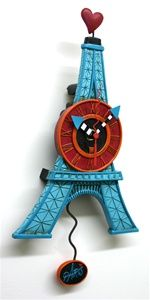 A whimsical clock made by Allen Designs.
