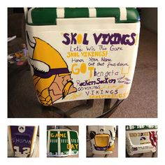 Mn Vikings Painted Cooler!  Love the idea but would like more of a clean and readable look! Love love love the idea!!!