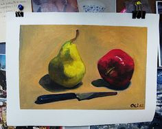 oil painting practice :) pear & apple