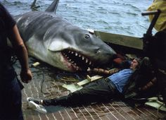 On set with Spielberg, Dreyfuss, Bruce and some serious haircuts. Robert Shaw takes in the rays with buddy Bruce the shark. Pet Sematary, Top Photos, Rare Photos, Film Pictures, Jaws Movie, I Movie, Jaws 1, Jaws Film, Shark Jaws