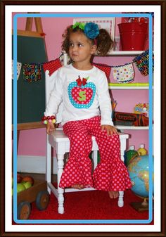 Girls Back To School 2 Piece Set ... BUY 2 Listings get a THIRD for FREE. $56.99, via Etsy.
