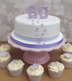 Lilac 80th Birthday Cake by Angelcakes_uk (Beckie), via Flickr