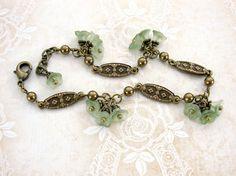 Sage Green and Brass Victorian Link Bracelet - Renaissance Jewelry Nature…