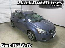 """This complete multi-purpose base roof rack is for the2009, and 2010 Pontiac Vibethat has the """"""""bare"""""""" or """"""""normal"""""""" roof, includes models equipped with a sunroof. System includes two load bars, fou"""