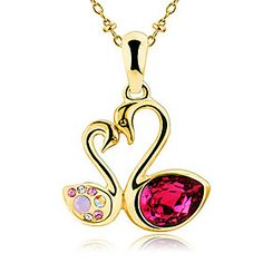 D3 Gold Kiss Swan Rose Red Crystal Necklace