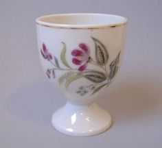 Egg Cup Purple Flower Green Leaves Gold Trim White Ceramic Pottery Floral #Flowers #Leaves #EggCup