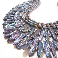 Freshwater Pearl Statement Necklace Biwa Stick Pearl