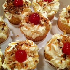Coconut Lush Cupcakes:  make yellow cupcakes substituting pineapple juice for water. While cupcakes are cooling mix 1 can of crushed pineapple (undrained) with a box of vanilla pudding and cool whip.  Ice cupcakes with pudding mixture and top with toasted coconut and a maraschino cherry.